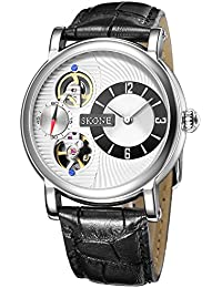 SKONE Fashion Quartz Mechanical Double Movement Mens Watch with Digital Nailed Scale and Real Small Seconds Dial (Black White)