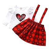 Kleinkind Kinder Outfits Set Baby Mädchen Zweiteilig Anzug Valentinstag Herz Tops T-Shirts Plaid Röcke Karierter Trägerrock Outfits Kleidung