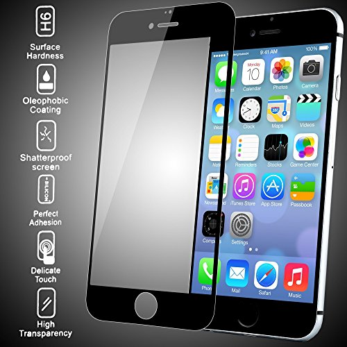 Image of delightable24 Premium Tempered Glass Screen Protector APPLE IPHONE 6 PLUS / 6S PLUS Smartphone - 3D Round Edge 100% Glass (Black)