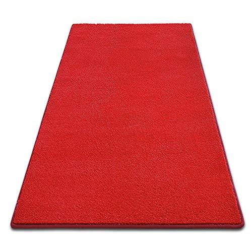 casa pura Tapis de Couloir au Metre | Poil Doux épais | sur Mesure | Dynasty, 66x150 cm, Rouge