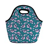 Portable Bento Lunch Bag,Turquoise,Floral Pattern with Bunch of Grapes Flowers and Berries on The Branch Boho Print,Teal Purple,for Kids Adult Thermal Insulated Tote Bags