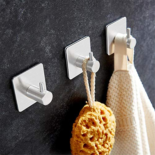 High-dining Patio-möbel (Ecisi Single Wall Hook, Adhesive Bath Hook Heavy Duty 304 Stainless Steel Metal Sticky Self Adhesive Without Drilling, Clothes Bag Hanger Holder for Bathroom, Kitchen,Room,3 pcs)