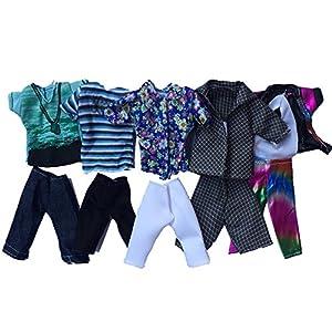 Xiton Ken Barbie Abbigliamento, 5pcs estate di sport di modo shirt e pantaloncini per il mio ragazzo bambola di Barbie Style a caso
