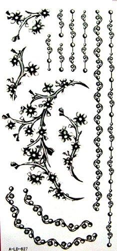 Temporary Tattoos wasserdichten schwarzen Tattoo-Aufkleber Schmuck Halskette ()