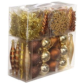 WeRChristmas–Juego de Bolas navideñas (Incluye Bolas para el árbol, Guirnalda de Cuentas y espumillón, 60Piezas), Color marrón/Dorado