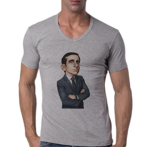 Michael Scott Illustration The Office Fan Art Costume Herren V-Neck T-Shirt Grau