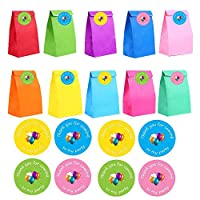 VEYLIN 24 Pieces Favor Paper Gift Bags with 36 Pieces Thank You Party Stickers for Kids Adults Birthday Party Supplies (13 x 8x 24cm)