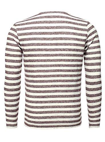 Key Largo Herren Sweatshirt AIR Pullover Langarm Gestreift Gut kombinierbar Bordeauxrot