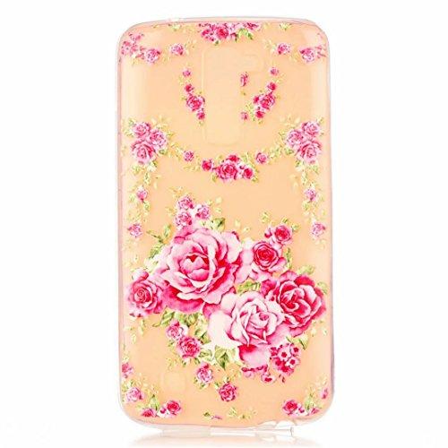 MUTOUREN für LG K10 Hülle Case Cover [Kratzfeste, Scratch-Resistant] Hülle Schutzhülle Crystal Kirstall Durchsichtig Fall-Abdeckung Etui TPU Bumper Schale - Rose Rosa (Streifen Rosa Snap)