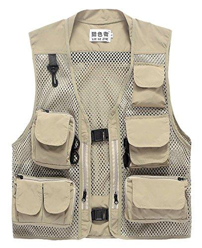 LIESEZHE Herren Mesh Multifunktionsweste Summer Outdoor Sport Weste mit vielen Taschen für Angeln Jagd Camping Safari Größe 3XL - Khaki
