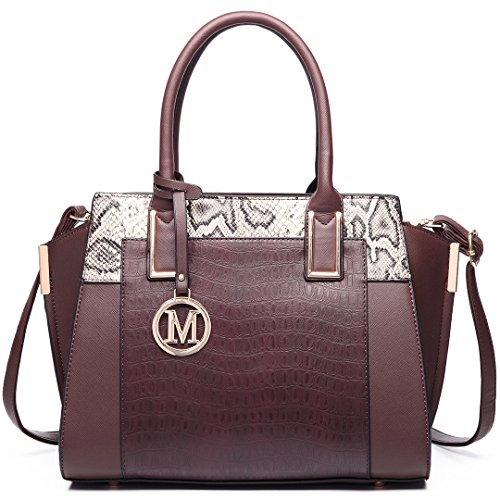 Miss Lulu Damen Klassische Handtasche Winged Schultertasche Groß Umhängetasche Taschen 6623 Coffee