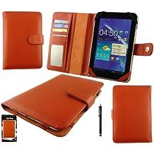 Emartbuy® Nero Stylus + Universale Arancione Di Base Case Custodia Cover Wallet Con Slot Per Le Carte Adatto Per Archos 70 Cobalt 7 Pollici Tablet