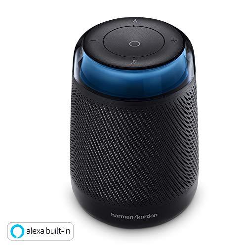 Harman Kardon Allure Portable Bluetooth-Lautsprecher (Sprachgesteuerte mit Amazon Alexa, Tragbarer Lautsprecher mit modernen Lichteffekten) schwarz
