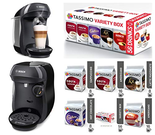 Tassimo by Bosch Happy TAS1002GB Coffee Machine Black + 5 Packs of T Discs Pods Coffee 56 Drinks ☕ Variety Box Set Best Price and Cheapest