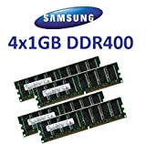 4GB DUAL CHANNEL KIT: SAMSUNG original 4x 1024 MB 184 pin DDR-400 (400Mhz PC-3200 CL3) DIMM 64Mx8x8 single side für PC's - 100% kompatibel zu 333Mhz PC-2700 / 266Mhz PC-2100 von Samsung
