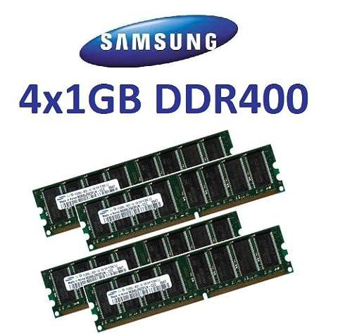 Samsung Kit Dual Channel 4Go: Samsung original 4x 1024Mo 184broches DDR-400(400MHz Module 3200CL3) DIMM 64Mx8x 8Single Side pour PC–100% compatible à 333MHz PC-2700 / 266MHz PC-2100de