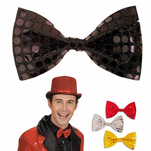 Amakando Pailletten Fliege schwarz | Glitzer Smokingfliege Las Vegas | Clown Anzugsfliege Schlagerparty Anzug-Zubehör | Schleife Krawatte Schlager Kostüm Accessoire | Party Querbinder Fasching