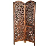 S.K.Enterprises Wooden Partition 2 Panel Screen/Room Divider, Wood Color