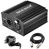 Neewer 1-Kanal 48V Phantom Leistungversorgung mit Adapter und einem XLR Audio Kabel für alle Kondensor Mikrofone Musik Rekorder Ausrüstung Musikaufnahmemittel, Schwarz