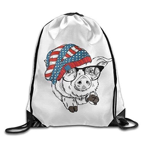 Naiyin Outdoor Sports Team Drawstring Bag Gym Bags Casual Daypacks - (Pig Wear Hat Glassess)
