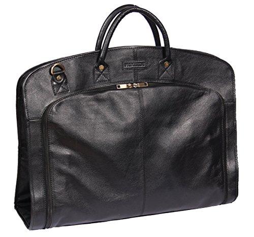 Portatrajes de Viaje de Cuero Real Fin de Semana Vestir Prenda Bolsa de Ropa HOL933 Negro