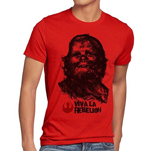 style3 Viva La Rebelion T-Shirt Herren Rebellion Guevara Revolution, Größe:XXXL, Farbe:Rot