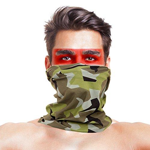 LOOGU 12in1 Haarband - Schweden M90 Woodland Camo Multifunktionale Nahtlose Bandanas Kopfbedeckung, Headwear-Sweden M90, Sweden M90, 9.5 x 19 Inches / 24 x 49 cm