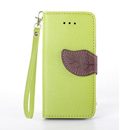 Etche iPhone 5C Schutzhülle Case, iPhone 5C Flip Cover Tasche, Leder Tasche für iPhone 5C Hülle, Bunt Retro Baum Blatt Magnet Muster Lanyard/Strap Design Bookstyle Wallet Case Lederhülle Handyhüllen m grün