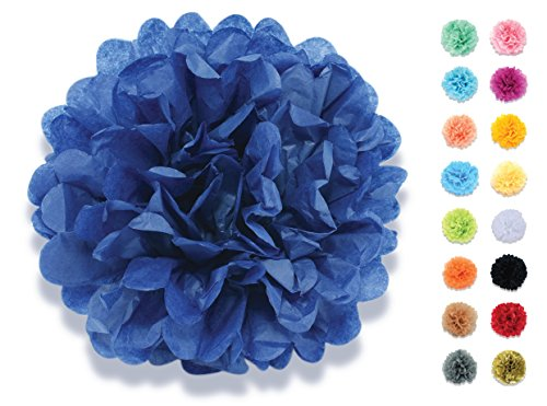 denpapier Deko-Pompoms 20 cm royal-blau | Schöne Hochzeit-Deko, Geburtstag-Deko, Baby Shower-Deko, Hochzeitsauto-Deko, Garten Party-Deko | Inklusive Pompons Video-Aufbauanleitung (Royal Blau Tischdekoration)