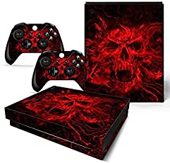 Elton Red Vampire Skull 3M Skin Decal Sticker For X Box One X Console & Two Controllers