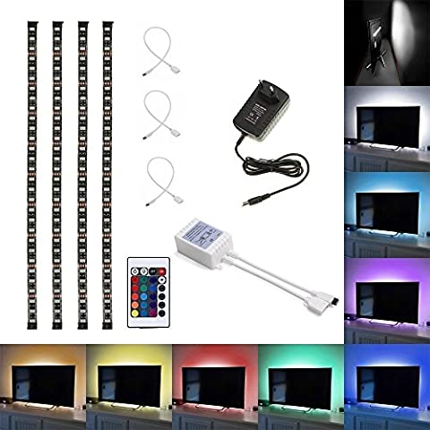 ABelle Ruban à LED RGB Etanche 5050 SMD Bande LED Strip 4x 50cm Avec 24 Touches Télécommande et 12V Alimentation pour Décoration TV Ordinateur Moniteur Mur éclairage de Noël