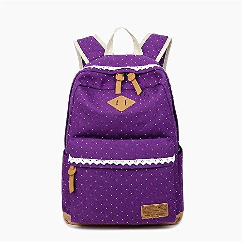 QXLCRucksack Schulrucksack rucksäcke mit Laptopfach für Outdoor SportRucksack weibliche Umhängetasche weibliche Mittelschule Schultasche Leinwand weibliche Tasche Druck Rucksack lila 33x14x42cm (Lila Rucksack Von Under Armour)
