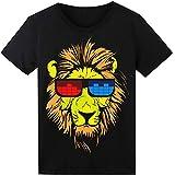 LED T-Shirt für Party Hiphop Cosplay Konzert Geburtstagsgeschenk Beste Christmas Kostüm Sound Aktiviertes Equalizer Shirt DJ T-Shirt(Löwe)
