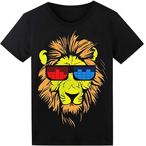 Für Kostüm Shirt Herren - LED T-Shirt für Party Hiphop Cosplay Konzert Geburtstagsgeschenk Beste Christmas Kostüm Sound Aktiviertes Equalizer Shirt DJ T-Shirt(Löwe)