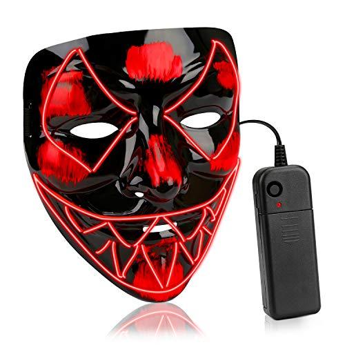 Led Kinder Kostüm - AnseeDirect Halloween Maske Led Maske Horror Maske EL-Draht leuchtet auf Cosplay Masken für Erwachsene Kinder Halloween Kostüm Fest Party (Rot)