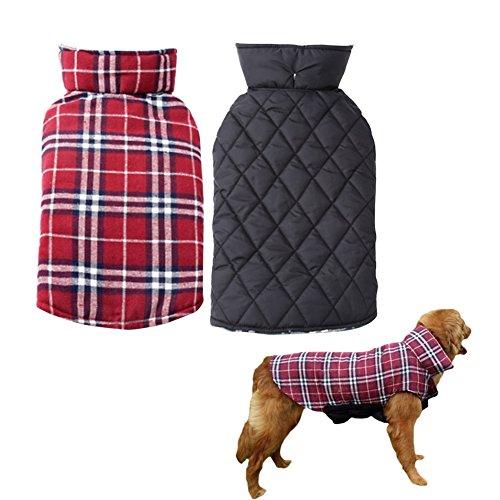Floral Taft (Hund Jacke Doppelseitig Hundemantel Hunde Winterjacken Mäntel karierten Sweatshirt Warm Pullover Herbst und Winter Haustier Kleidung Rot L)