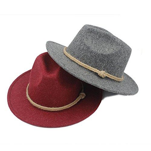 FeiNianJSh Chapeau pour Femmes/Hommes Rétro Laine Large Bord Fedora Chapeau pour Laday Cachemire Jazz Église Cap Gentleman Panama Sombrero Top Hat Cor