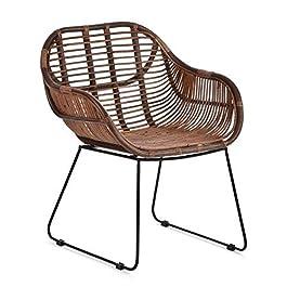 Chaise longue Animal-design – En rotin – Robuste – Avec accoudoir – Pour balcon, terrasse