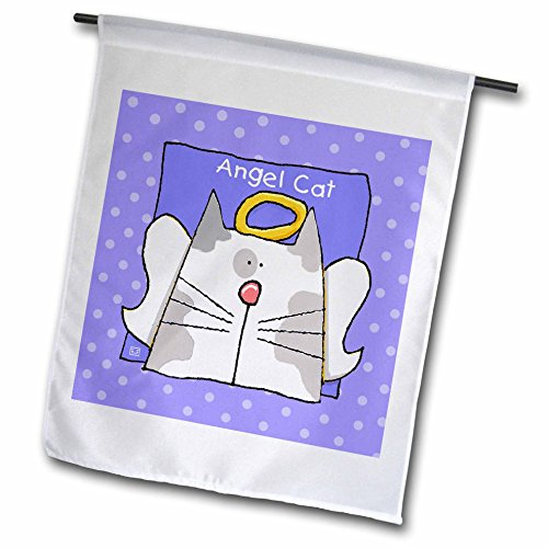 3dRose FL 36659_ 1Engel grau Bi Farbe Cat Cute Cartoon Pet Verlust Memorial Garden Flagge, 12von 18 (Cute Cartoon-zeichnung)