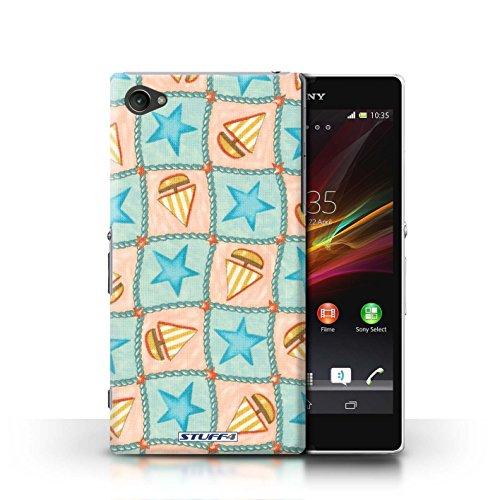 Kobalt® Imprimé Etui / Coque pour Sony Xperia Z1 Compact / Violettes/Vertes conception / Série Bateaux étoiles Turquoise/Orange