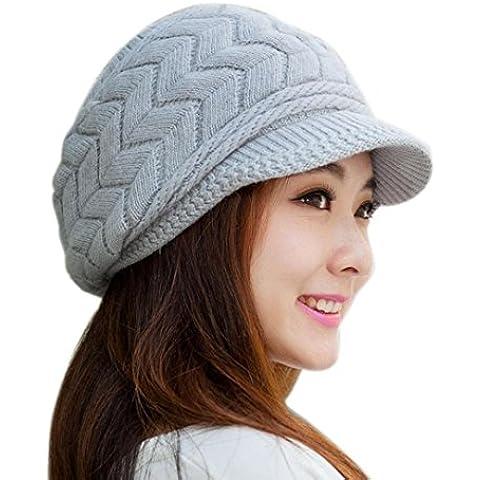 FEITONG Las mujeres sombrero de invierno skullies Gorros sombreros de punto Casquillo de la piel del conejo 7