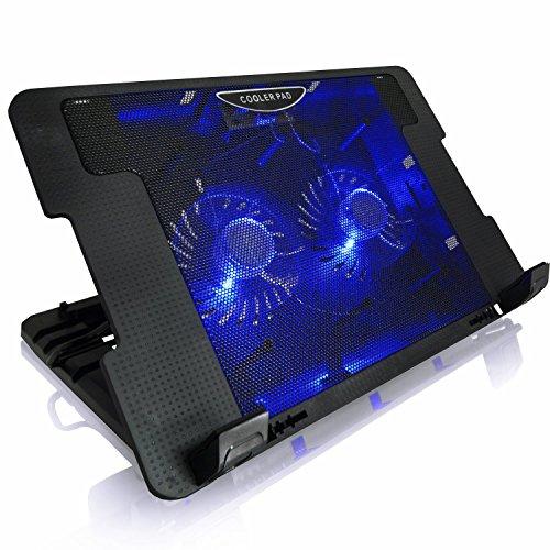 AAB Cooling NC53 - Laptop Halterung Unterlage mit 2 Lüftern, Einstellbare Neigung und Blau Hintergrundbeleuchtung | Laptoptisch | Cooling Fan | Notebook Halter für Laptops bis 17 Zoll und PS4 PRO / XBOX Consolen | Macbook Lüfter