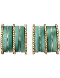 Bollywood Golden Crystal Kada Made 40 Pcs (Radium Color)women & Girl Bangles Set Pair Jewelry