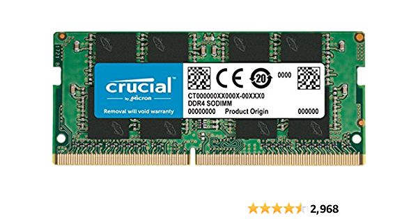 Crucial CT16G4SFD8266 16GB Single DDR4 2666 MT/s PC4-21300 DR x8 SODIMM 260-Pin RAM