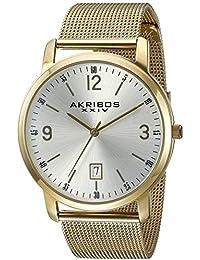 Akribos XXIV Plata Redonda de los hombres reloj de pulsera de cuarzo de mano de tres