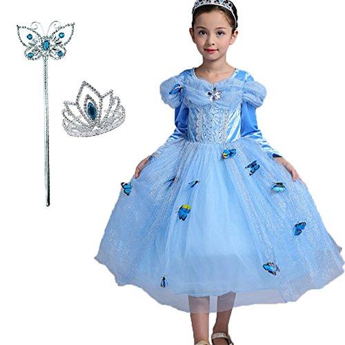ERWAA Bambini Principessa Gonna Mantello + Diadema + Bacchetta Magica Abito di Gala Ragazze Costume Tulle Vestito per Festivo Feste a Tema Halloween Carnevali Compleanni Blu