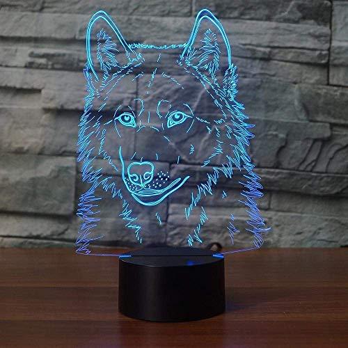 Créatif 3D Loup Nuit Lampe Art Déco Lampe Lumières LED Décoration Lampes Touch Control 7 Couleurs Change Veilleuse USB Powered Enfants Cadeau Anniversaire Noël Cadeaux