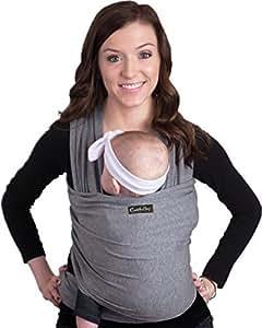CuddleBug Babytragetuch Neugeborene grau Pucktuch: 4-in-1 elastisches Tragetuch