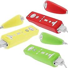 Fosmon Funda Silicona para Mando Remote de Nintendo Wii y Nunchuck (Verde / Rojo / Amarillo)