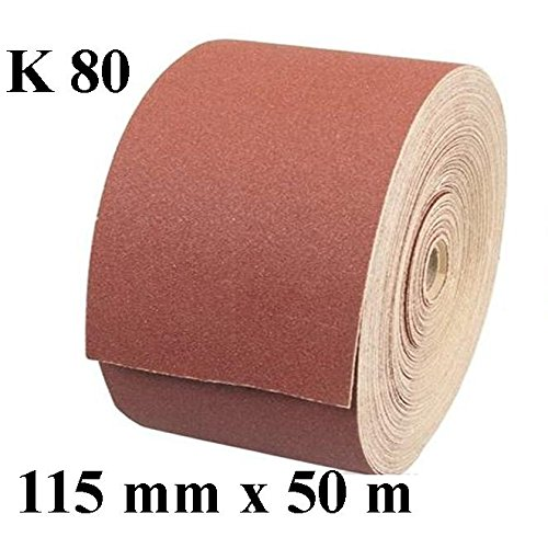 1 x Rolle Schleifpapier Kunstharz Schleifmittel Korn 80 Länge 50 m/Breite 115 mm